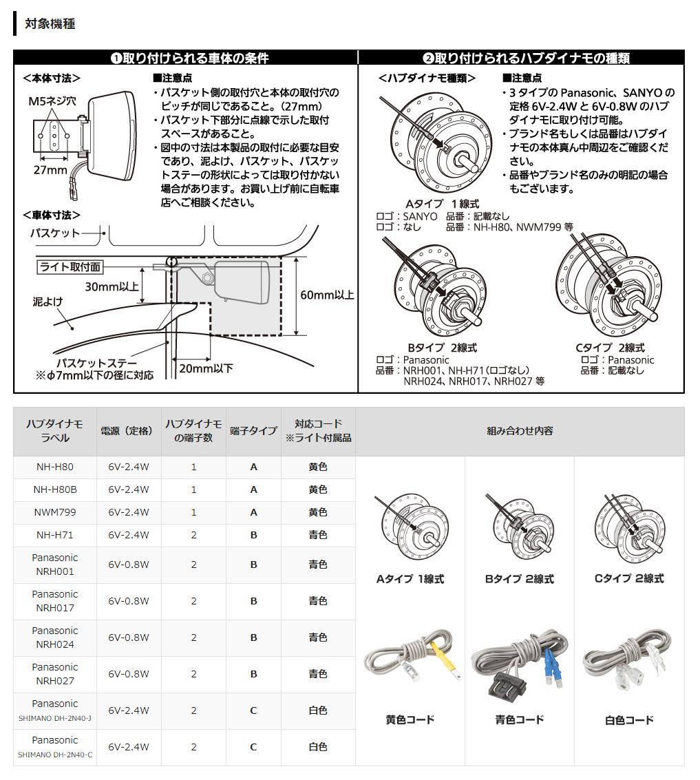 LEDハブダイナモ専用ライト リフレクター付「NSKL146」