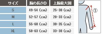 男性用アームカバーサイズ表></p>